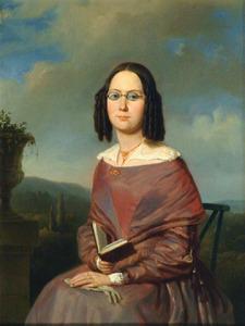 Portret van Mw. Ph. Roodhuijzen-Dirks in trouwjapon