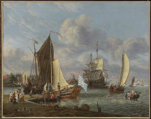Hollands havengezicht met baders