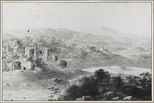 Heuvellandschap met ruïnes