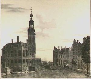 Amsterdam, gezicht op de Munttoren vanaf het Singel