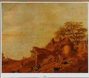 Landschap met boerderij; op de voorgrond een slapende man en geiten