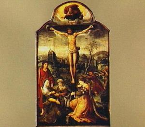 Christus aan het kruis met treurende omstanders