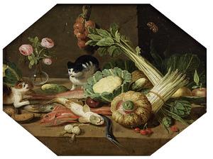Stilleven met vissen, groenten, bloemen en twee katten