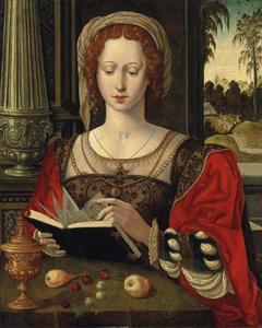 H. Maria Magdalena lezend, aan een tafel met fruit en een gouden tazza