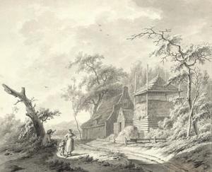 Boerderij met hooimijt langs een weg met drie figuren
