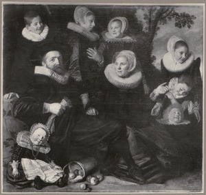 Portret van een familie, waarschijnlijk Ghijsbert Claesz. van Campen (....-1645), Maria Joris (....-1666) en hun kinderen (fragment)
