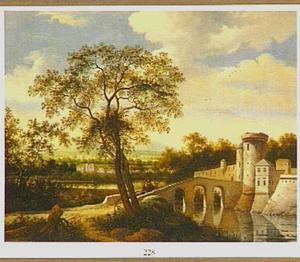 Rivierlandschap met een stenen brug naar een kasteel