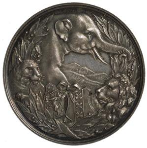 Artis penning met olifant, leeuw en leeuwin in een lauwerkrans