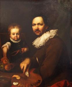 Zelfportret Johann Kupezky (1667-1740) met zijn dochter