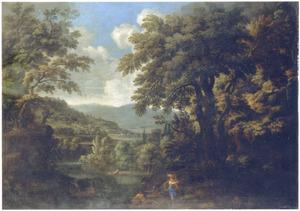 Zuidelijk landschap met figuren bij een bergmeer