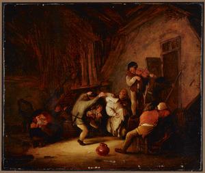 Dansende en drinkende boeren in een herberg