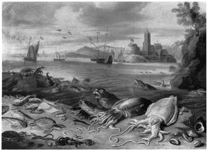 Verschillende zeedieren op het strand; aan de overkant van de baai een havenplaats