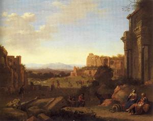 Italianiserend landschap met ruïnes en de rust op de vlucht naar Egypte