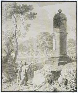 Arcadisch landschap met twee figuren bij een monument