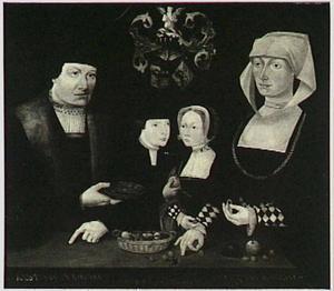 Portret van Joost van Ockinga (....-....), Luts van Minnema (....-1546) en hun kinderen