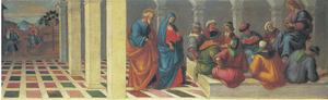 Christus en de schriftgeleerden, in de achtergrond de vlucht naar Egypte