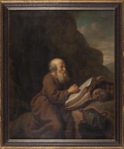 Kluizenaar biddend voor een bergwand