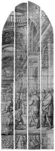 De verkondiging van de geboorte van Johannes de Doper aan Zacharias (Mattheüs 1:19-25), met stichtersportret