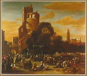 Landschap met markt bij een ruïne
