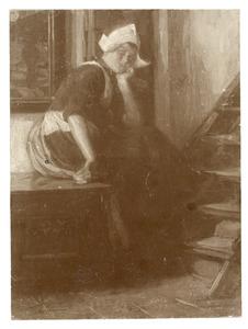 Zittende vrouw in klederdracht