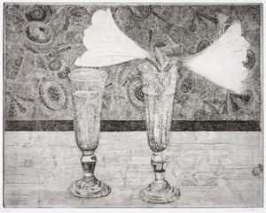Glazen met amaryllis