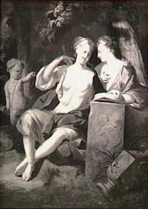 Jupiter verleidt  Callisto in de gedaante van Diana