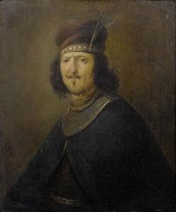 Tronie van een man met gevederde tulband en een halsberg