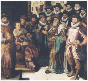 Groepsportret van stadsbestuurders van Brugge in een uitbeelding van de gerechtigheid van Cambyses