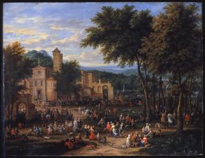 Landschap met feestvierders op een markt voor een kerk