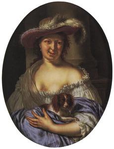 Vrouw met een schoothondje