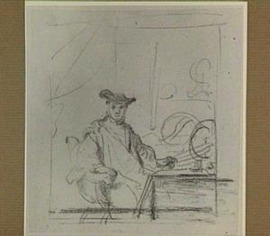 Portret van een geleerde in zijn studeerkamer