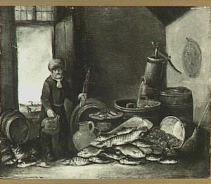 Visser met schepnet bij een uitstalling van vis in een interieur