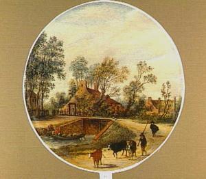 Landschap met een herder en drie koeien op een pad langs een rivier; op de achtergrond boerderijen