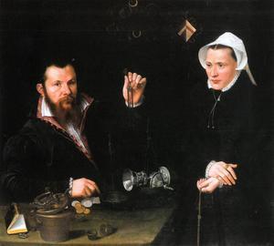 Dubbelportret van een geldwisselaar en zijn vrouw