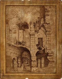 Een lopende man in de ruïne van het Colosseum