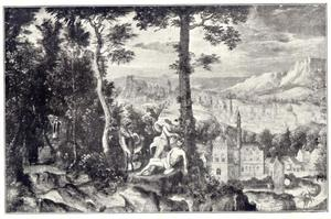 Berglandschap met de Barmhartige Samaritaan
