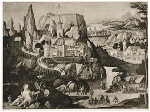 De boetvaardige Maria Magdalena in een rotslandschap met fantasie-architectuur
