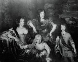 Portret van een vrouw en drie kinderen, genaamd Elisabeth van Anhalt met haar kinderen