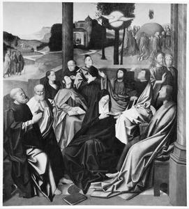 De nederdaling van de H. Geest; op de achtergrond Verschijning van Christus aan Maria Magdalena, Ontmoeting met de Emmaüsgangers (links); Christus' maaltijd met de Emmaüsgangers (midden) en de Hemelvaart (rechts)