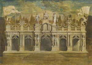 Een klassieke loggia bekroond met beeldhouwwerk: een ontwerp voor de festiviteiten op de Antwerpse makrt op 6 juni 1648 ter gelegenheid van de proclamatie van de Vrede van Münster