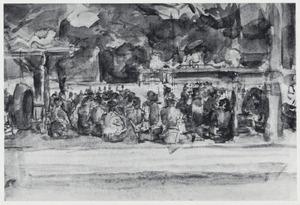 Een groep dessa-bewoners beluisteren een gamelan uitvoering onder het zwaar gebladerte van oude bomen
