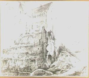De vervallen Walburgkerk te Arnhem, aan de oude wal
