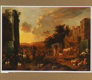 Landschap met jachtgezelschap bij antieke ruïne