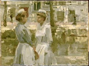Dienstmeisjes op de Amsterdamse gracht