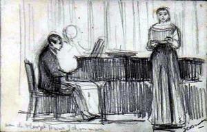 Dubbelportret van Hans Schouwman (1902-1967) en een onbekende zangeres