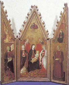 Maria met kind, de heiligen Catharina van Alexandrië en mogelijk Lucia met God de Vader (midden), de heilige Ansanus met de engel van de Annunciatie (links) en de heilige Laurentius met Maria van de Annunciatie (rechts)