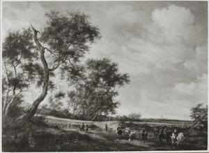 Landschap met overvallers en hun buit op een zandweg