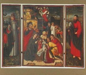 H. Augustinus (links), de aanbidding der herders (midden), H. Jacobus de Meerdere (rechts)