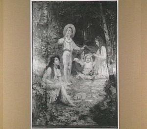 Vijf kinderen op een bospad, één kind maant tot stilte