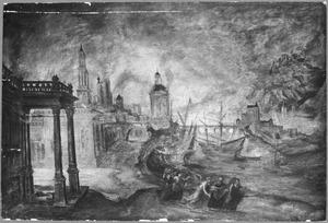 De verwoesting van Sodom en Gomorra: een engel maant Lot en zijn gezin tot spoed bij het verlaten van de brandende stad (Genesis 19: 15-29)